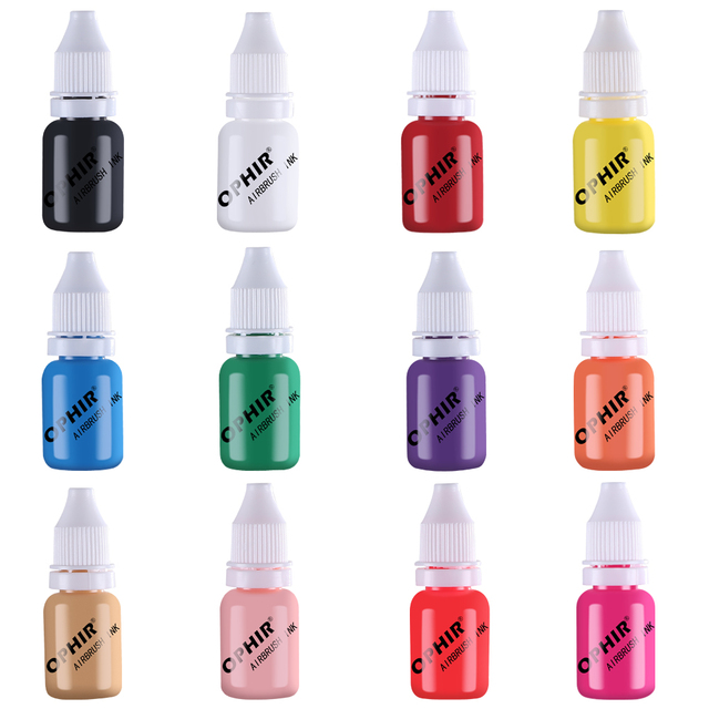 OPHIR 12 Color Airbrush Nail Inks for Stencils Gel Nail Polish 10 ML/Bottle Temporary Tattoo Pigment Nails Tools_TA098(1 12)
