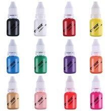 OPHIR aerógrafo de 12 Colores, tinta para uñas para plantillas, esmalte de uñas de Gel, 10 ML/botella, tatuaje temporal, pigmento, herramientas _ ta098 (1 12)