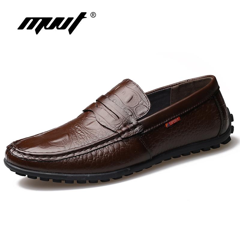 MVVT Comfortable Slip-On Men Formal Shoes Basic Dress Shoes Genuine Leather Shoes Men Fashion Crocodile Grain Men Flats