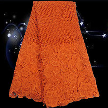 SESL2!orange!good looking African Cord lace fabric,top quality embroidered guipure lace fabric for party dress!