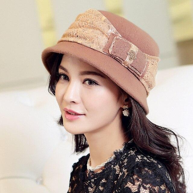 242366242cd Beckyruiwu Female Winter Warm Headwear Women Fashion Bucket Hats Lady  Bowknot Wool Cloche Hat