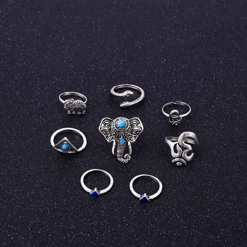HTB1kFm1RVXXXXbDXFXXq6xXFXXXX Fashionable 8-Pieces Boho Retro Spirituality Symbols Stackable Midi Ring Set