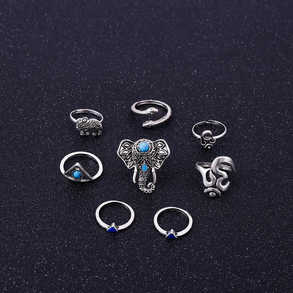 HTB1kFm1RVXXXXbDXFXXq6xXFXXXX Fashionable 8-Pieces Boho Retro Spirituality Symbols Stackable Midi Ring Set