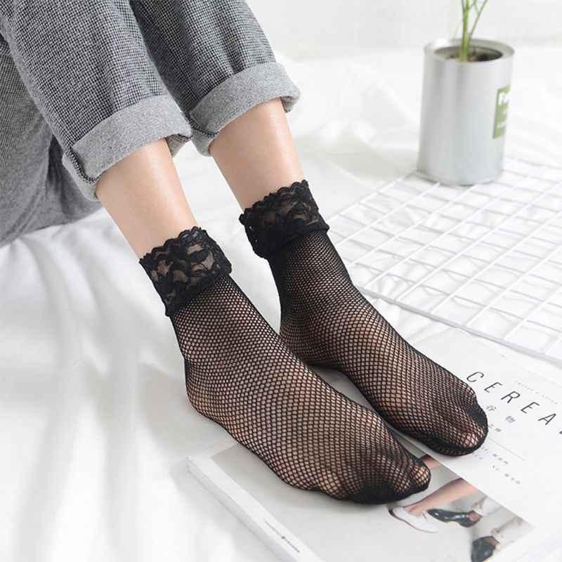 Vrouwen Sexy Zomer Korte Over Ankle Boot Sokken Visnet Mesh Zwarte Bloemen Kant Patchwork Top Hollow Out Nylon Kousen