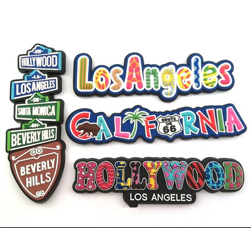 Голливуд Лос-Анджелес, Калифорния мягкого ПВХ 3D магниты на холодильник США Туризм Сувениры холодильник магнитная Стикеры Home Decor ...