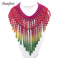 Charming Color  Alloy Beads Long Chain Tasseles Choker Statement Necklace Jewelry Fashion Women Clothes Accessories N2452