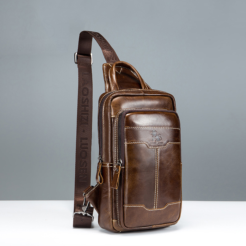 2018 New Brand Genuine Leather Men Chest Bag Fashion Crossbody Bags For Men Small Causal Shoulder Bag Message Bags High Quality стоимость