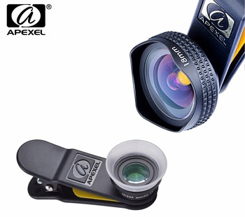 APEXEL Professional 4K Wide lens 0.6X HD super wide angle lens and 12-24X macro lens for iPhone 8 7s plus HTC cellphone 1824X