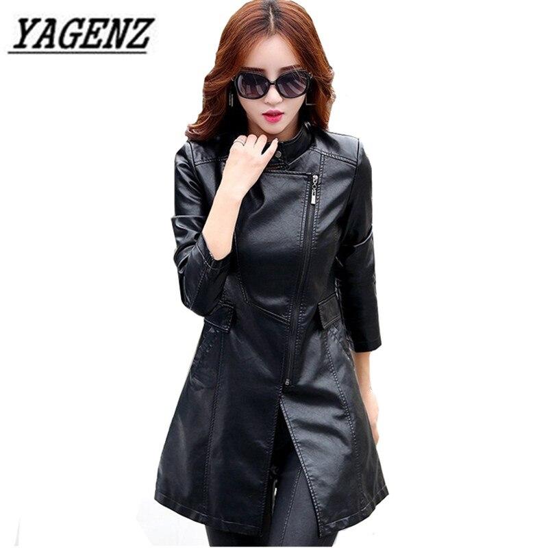 Black Women PU leather Jacket Windbreaker Coat Plus size 5XL Slim Patchwork Long Coat Windproof Faux Leather Jacket Cool Coat