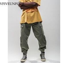 VFIVEUNFOUR 2018 New cargo pants joggers Full Length Pants Men hip hop Casual sweatpants Pocket Vintage Button