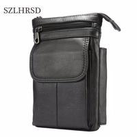 SZLHRSD Cell Phone Case Genuine Leather Zipper Pouch Belt Clip Waist Purse Case Cover For M