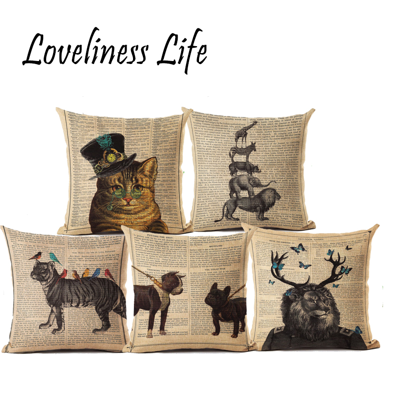 Aliexpress.com : Buy Retro Newspaper Animal Printed Linen