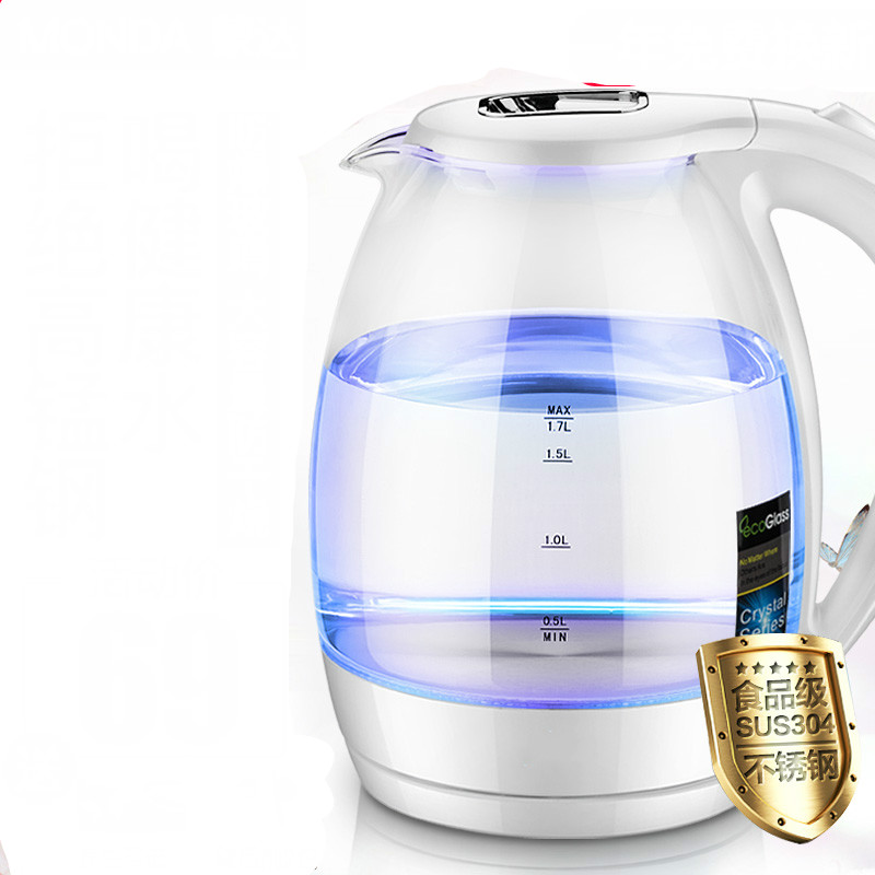 лучшая цена Electric kettle Household glass electric food grade 304 stainless steel boiling pot large capacity Safety Auto-Off Function