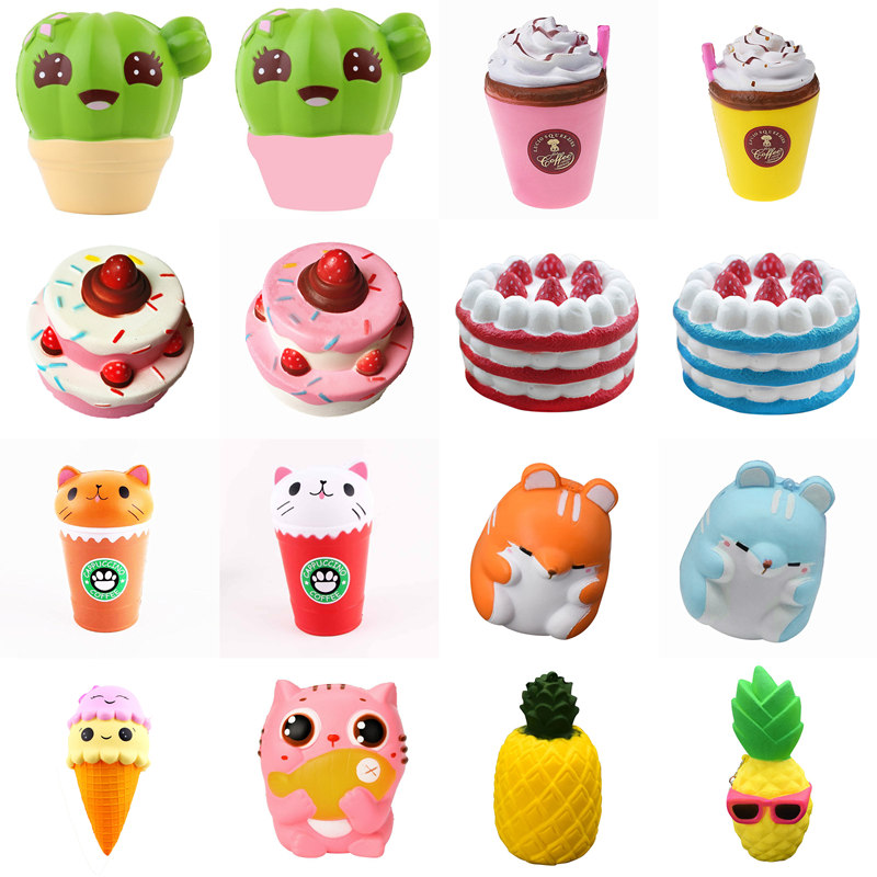 Squishy Slow Rising squeeze toy strawberry cake cactus plant ice cream cup cat panda pig head