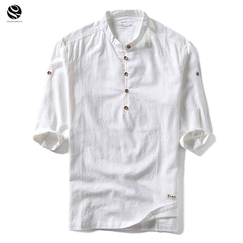 New Fashion T Shirt Mens Cotton Linen T Shirts Three Quarter Sleeve Solid V Neck Slim Fit Tees Chinese Style Casual Tops