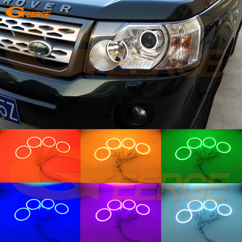 For Land Rover Freelander 2 2007 2008 2009 2010 2011 2012 Xenon Headlight Multi-Color Ultra bright RGB LED Angel Eyes kit for land rover freelander lr2 2007 2008 2009 2010 xenon headlight excellent ultra bright illumination smd led angel eyes kit