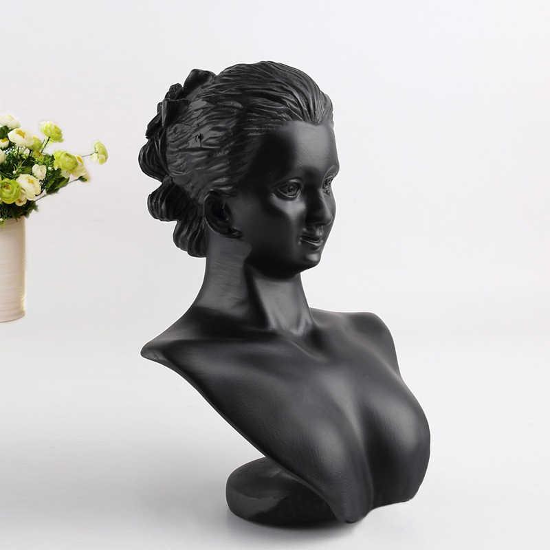 Новое поступление черные женские Смола манекен головы Искусственные парики Шапки Кепки Jewelry Очки наушников Дисплей модель стенд окно манекен головы
