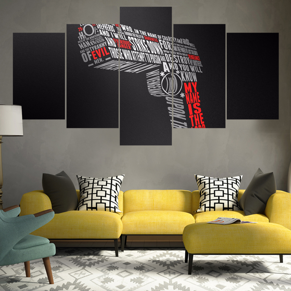 Beautiful 5 Pieces Best Cool Typography Design Gun Shape Modern Home Wall Decor  Canvas Picture Art HD