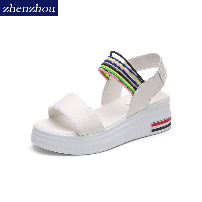 Women Sandals Slope With 2018 Summer New Style Thick Soles Colorblock Slip-on Casual Women Shoes Free Shipping