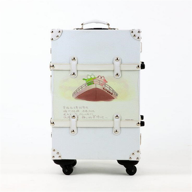 Female / Male PU Leather Handbag Suitcase 20/24 Inches Spinner / Fixed Wheels cartoon Rivet Trolley Suitcase Travel Luggage vintage suitcase 20 26 pu leather travel suitcase scratch resistant rolling luggage bags suitcase with tsa lock