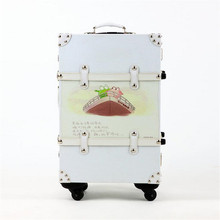 Female / Male PU Leather Handbag Suitcase 20/24 Inches Spinner / Fixed Wheels cartoon Rivet Trolley Suitcase Travel Luggage