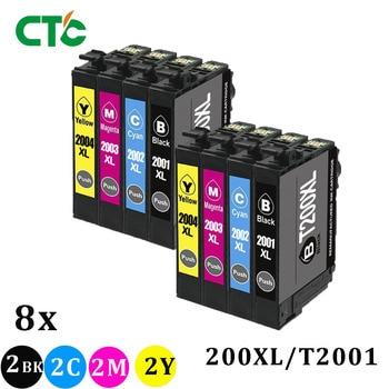 8 Uds 200 XL T2001 cartucho de tinta para XP-200 XP-300 XP-400 XP-310 XP-410 XP-510 fuerza WF-2520 WF-2530 WF-2540 T200XL