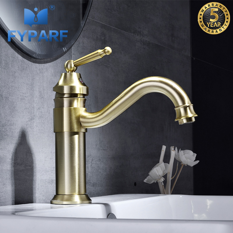 FYPARF Single Handle Bathroom Faucet Basin Sink Faucet Mixer Tap Brass Taps Bathroom Hot and Cold Water Washing Basin FaucetFYPARF Single Handle Bathroom Faucet Basin Sink Faucet Mixer Tap Brass Taps Bathroom Hot and Cold Water Washing Basin Faucet