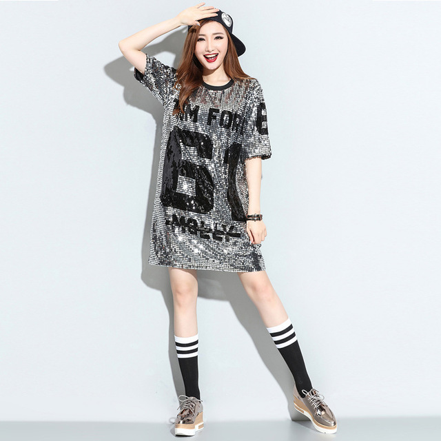 OLOEY 2018 Autumn Spring New Fashion Sequins Loose Causal Plus Size  Personality Letter T Shirt Dress Women s Dresses A636 e597c2e05a45