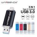 Wansenda 3 в 1 OTG USB флеш-накопитель USB3.0 + Micro USB + Type-C Флешка 256 ГБ 128 Гб 64 ГБ 32 ГБ 16 ГБ Флешка для Android/ПК