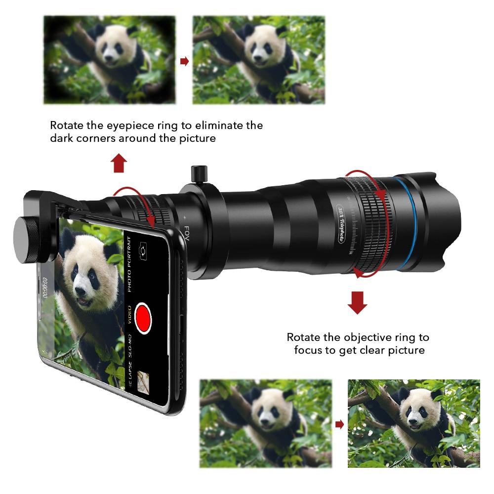 Opzionale HD 36X metallo telescopio teleobiettivo monoculare lente mobile + selfie treppiede per Samsung Huawei tutti Gli Smartphone Lente - 2