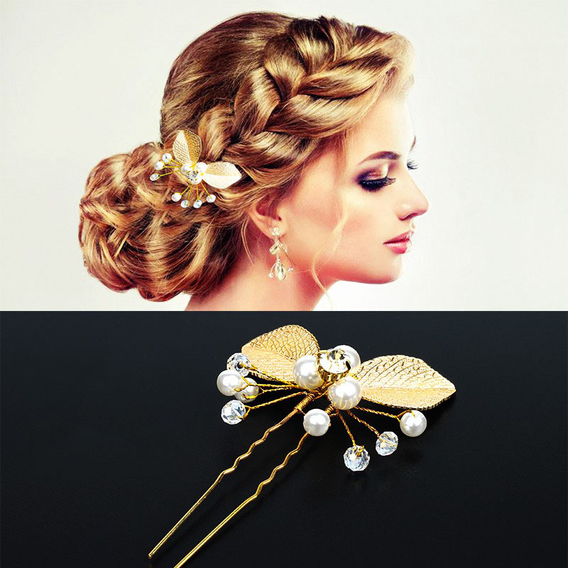 Sale 1PC Hair Clip The Bride Wore Wedding Gold Dress With A Butterfly Rose Flower Hairpin   Headwear   Woman Hair Accessories