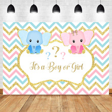 NeoBack Elephant Backdrop Gender Reveal Baby Shower Photography Background Blue Pink Surprise Photo Backdrops