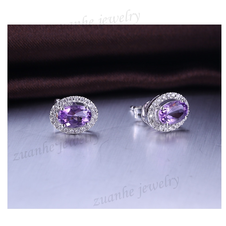 SI/H Natural Diamonds Amethyst Solid 14k White Gold Stud Earrings Fine Jewelry Women Earrings 0 28 ct natural diamonds earrings solid 14k white gold snow shape charm jewelry