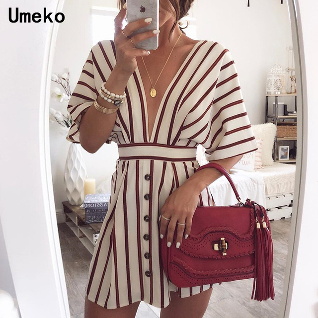 New Fashion 2019 Women Party Dress Night Club Deep V Neck Striped Batwing Sleeve Laides Casual Loose Mini Shirt Dresses 2