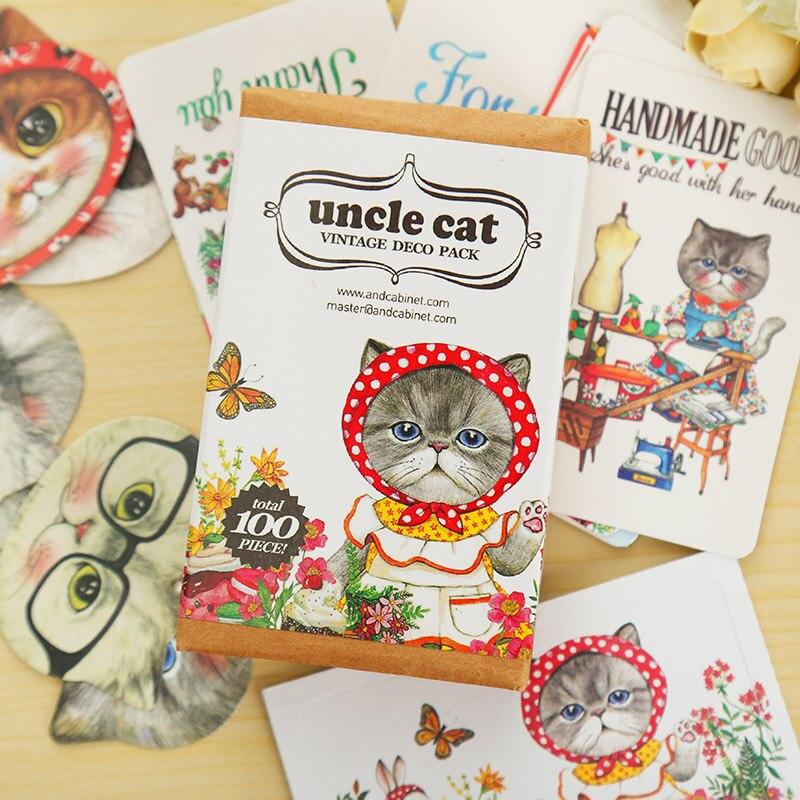 20 Bookmark + 10 Card + 70 Sticker /set Uncle Cat paper sticker DIY decoration sticker scrapbooking bookmarks stationery