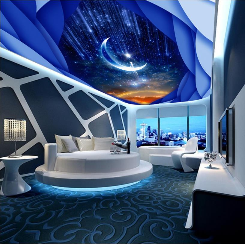 Customize Ceiling Photo Wallpaper Star Moon Wall papers Home Decor For Living Room 3D Ceiling Wallpaper