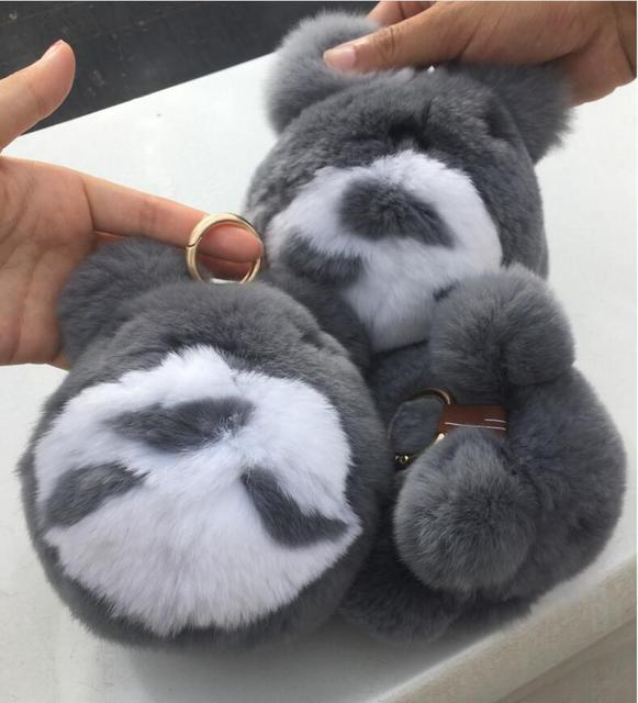 Real Genuine Rex rabbit Furs Keychain Pendant Bag Car Charm Tag Cute Mini TotoroToy Doll Real Fur Monster Keychains key ring