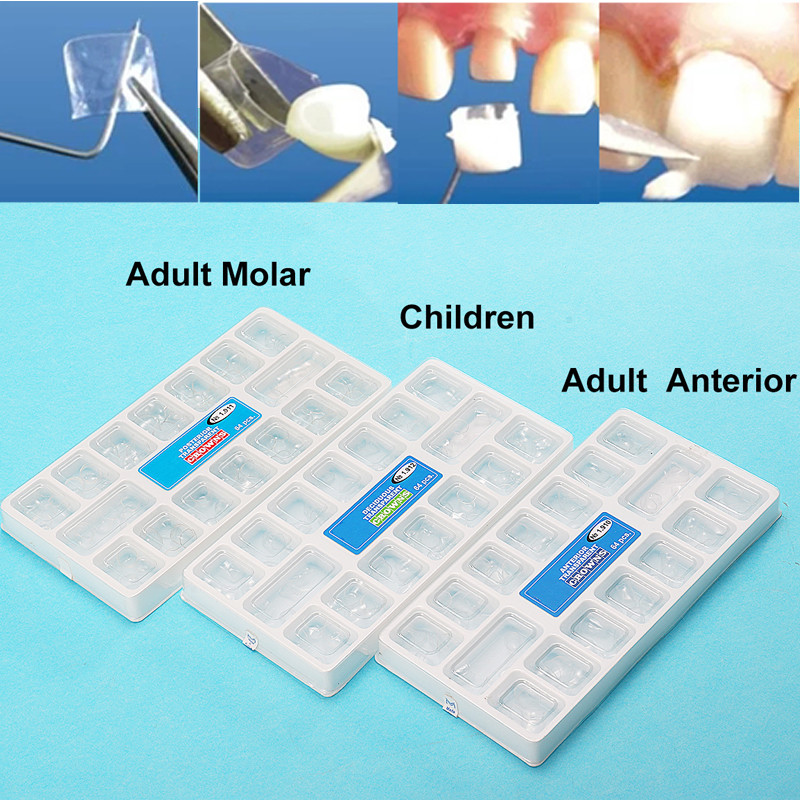 64pcs/box Transparent Deciduous Crowns Anterior/Molar Adult/Children Temporary Preformed Tooth Dental Resin Pre-crown Material футболка с полной запечаткой мужская printio dota 2 lina on fire page 1
