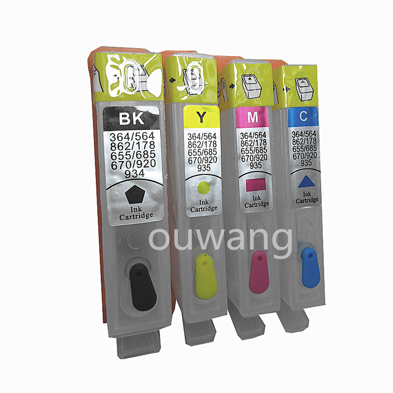 4PCS Cartridge For HP 670 Ink Suit For HP Deskjet 3525 4615 4625 5525 6525 Refillable ink cartridge With Reset Chip