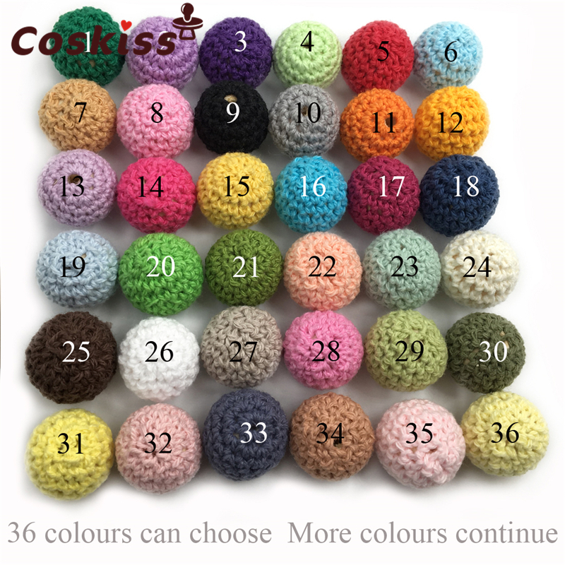 16mm/10pc Round Wooden Crocheted Beads Single Color Woolen Teether Bead Necklace Decoration Inside Wooden Teething Crochet Beads