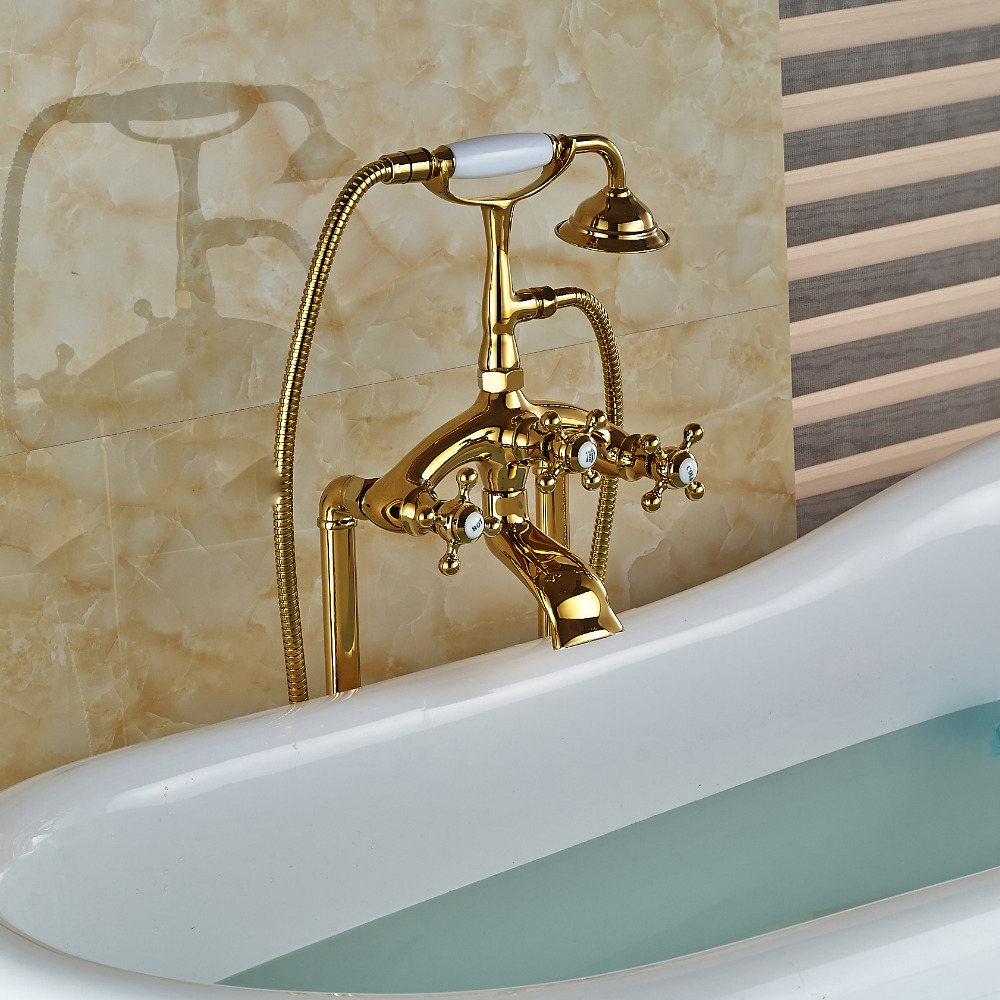 Wholesale And Retail Modern Golden Brass Tub Floor Mounted Faucet ...