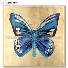 Artist Hand-painted Wall Art Butterfly Oil Painting on Canvas Blue Animal for Living Room Decoration