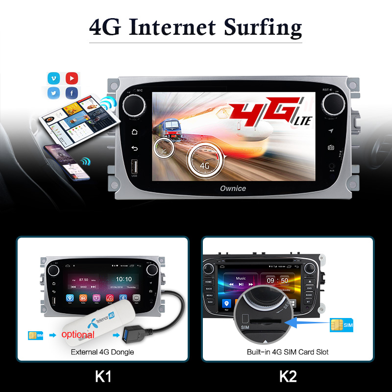 Ownice K1 K2 Android Voiture lecteur dvd 2 Din radio gps Navi pour Ford Focus Mondeo Kuga C-MAX S-MAX Galaxy Audio autoradio stéréo - 5