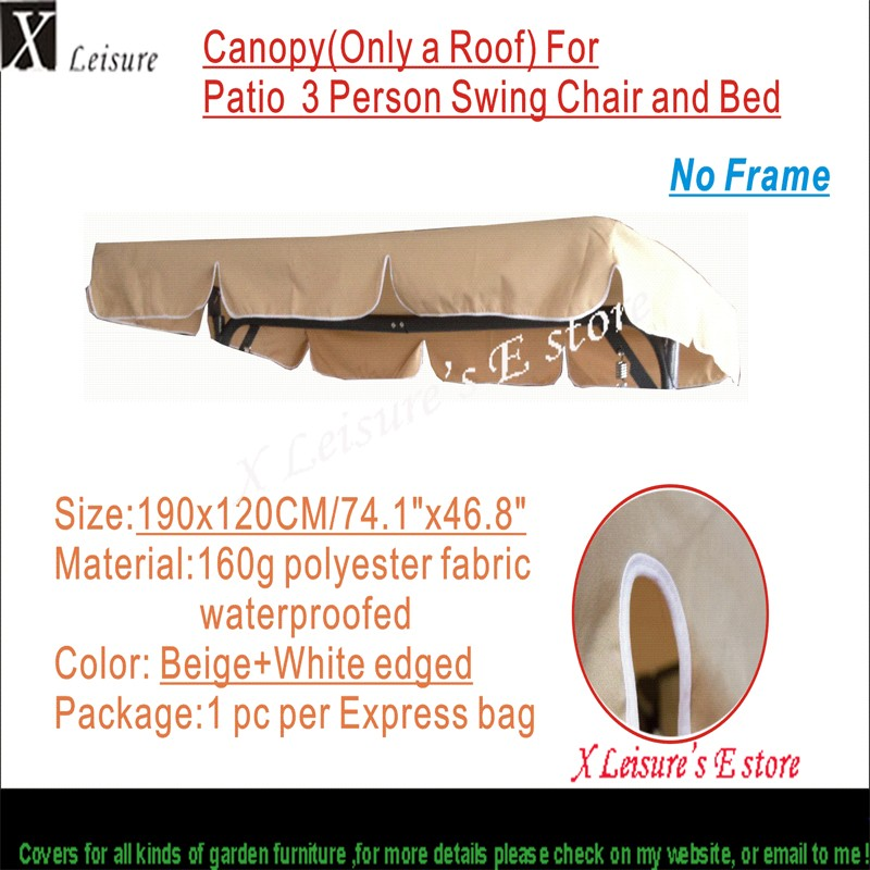cnsjmade canopy replacement for patio swing chair outdoor hammock canopy replacement beige dark grey 190x120cm 74 8 x47