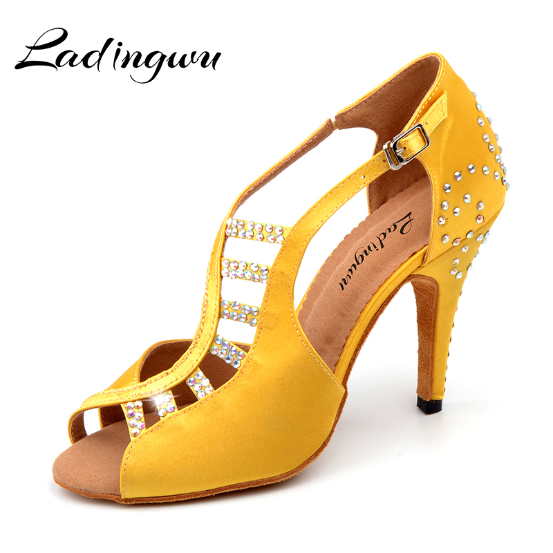 New Latin Dance Shoes Salsa Women Yellow Black Unique Tailoring Design Satin Shoes For Ballroom Dancing Rhinestone Tango Shoes