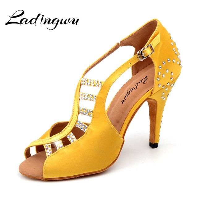 Novos Sapatos de Dança Latina Salsa Mulheres Amarelo Preto Projeto Alfaiataria Único Sapatos Para Dança De Salão de Cetim Strass Sapatos de Tango