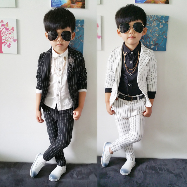 Striped child Blazers suit (jacket shirts pant brooch) teen Boys Prom Suit  Kids Costumes