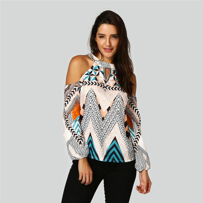 Bohemia tshirt Print Women 2018 Summer New Off Shoulder Retro Geometry Tops tshirt Hot Sale #FA22