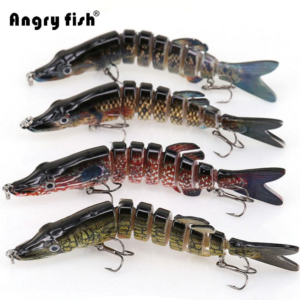 Angryfish 1 pz Lure di Pesca 13 cm 29g 8 Segmenti Esca di Richiamo con Artificiale Ganci