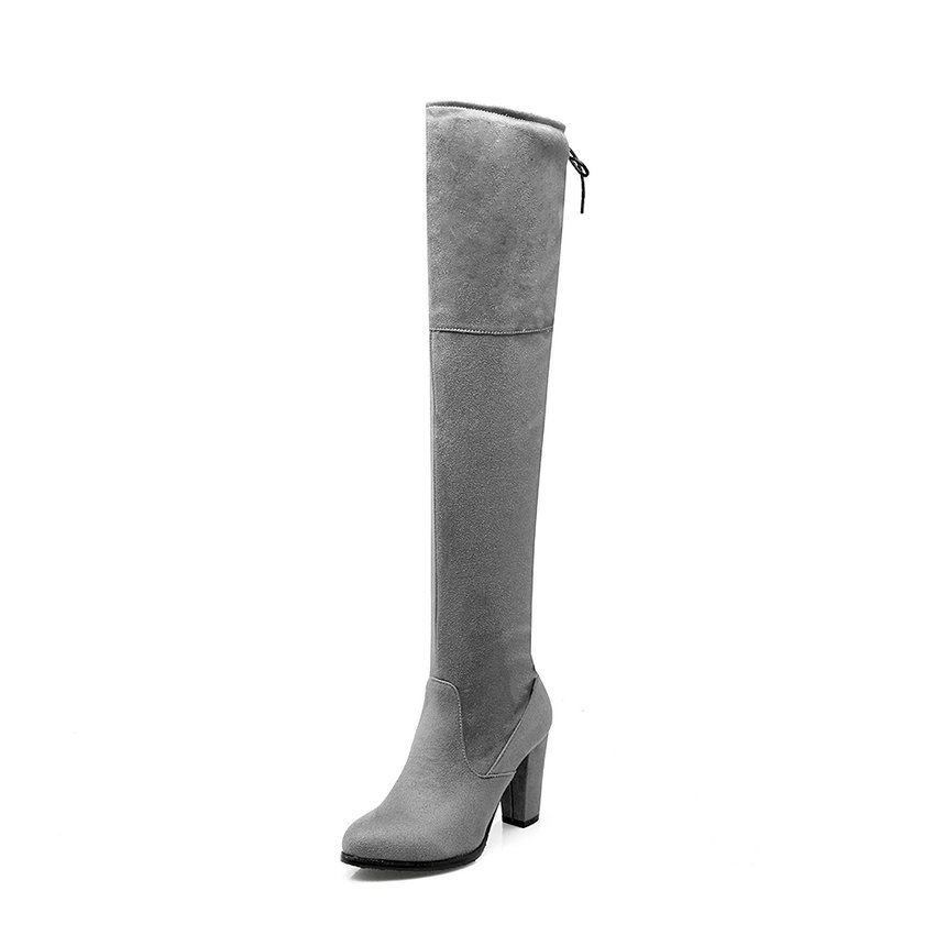 Elegant Slip on 2016 Flock Winter Fashion Women Boots Square Heel Round Toe Over-the-Knee Motorcycle Women Boots Size 32-43 цены онлайн